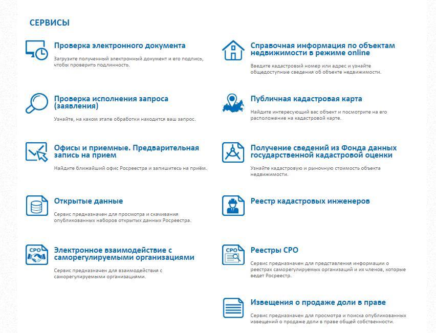 Перечень сервисов Росреестра